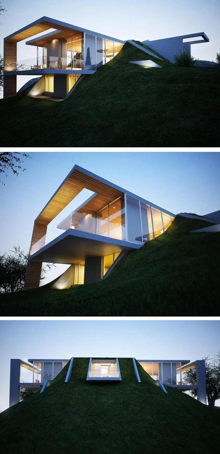 бетонный дом с террасами и балконом