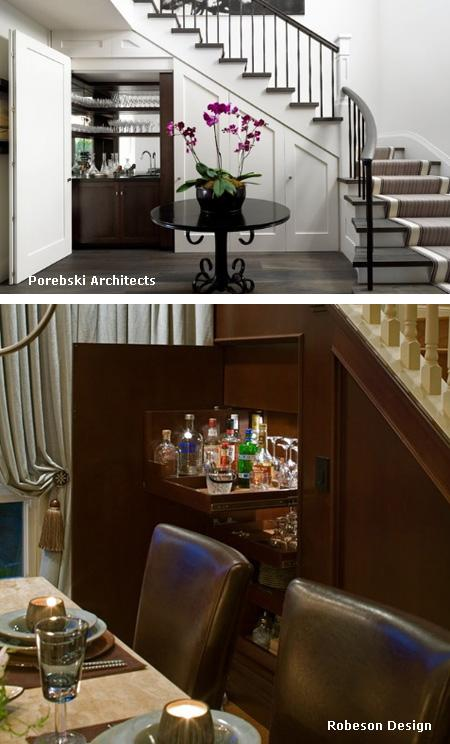 скрытый бар под лестницей