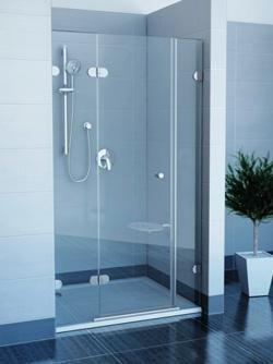 прозрачная стеклянная душевая дверь