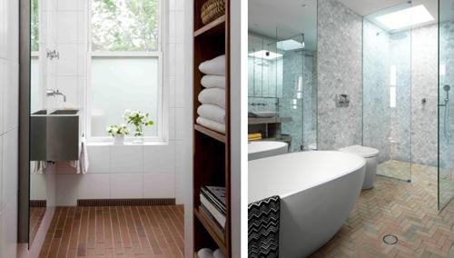 напольная клинкерная плитка в ванной