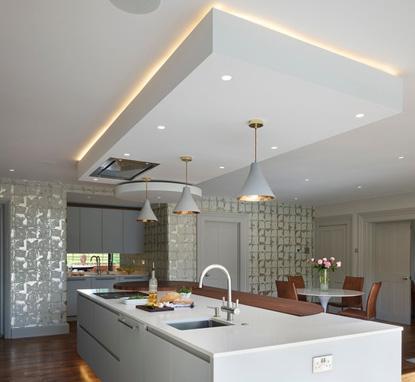 освещение островной кухни