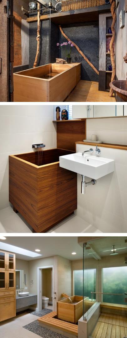 деревянные ванны восточного и минималистского стиля
