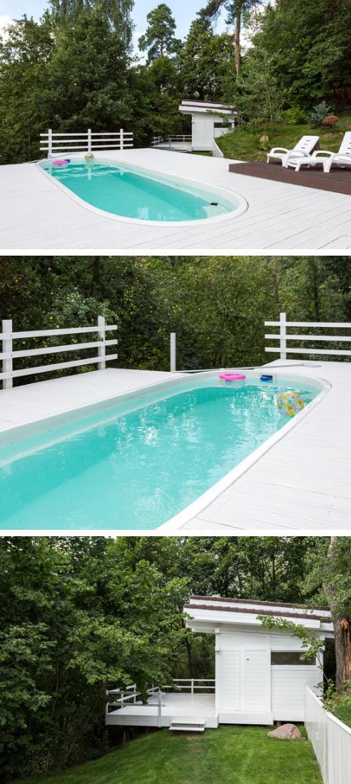 акриловый бассейн и баня на сваях