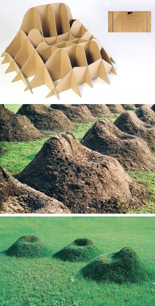 процесс создания садовой мебели на картонном каркасе