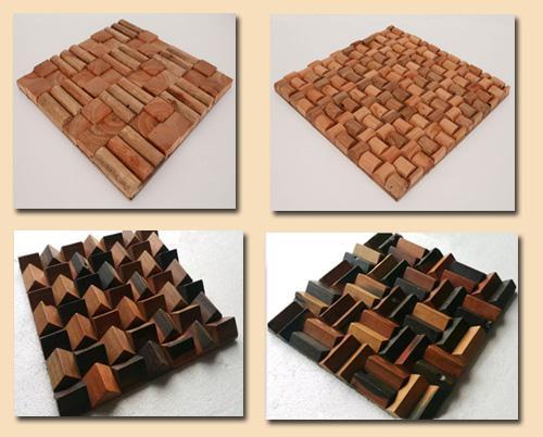 3D плитка из деревянной мозаики