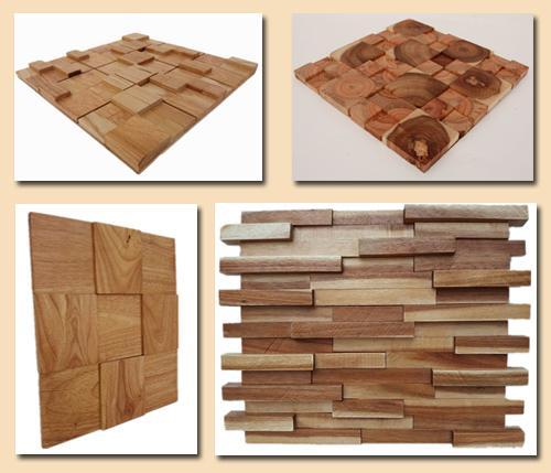 3D мозаика из прямоугольных фрагментов дерева