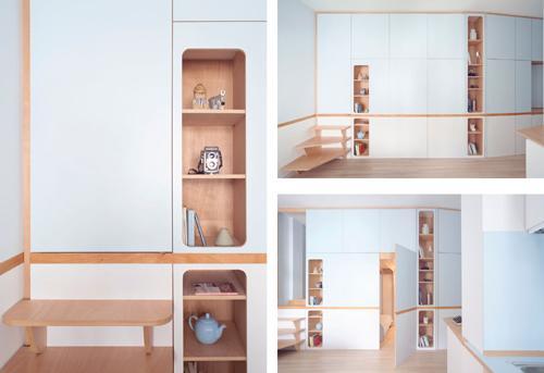 большой встроенный шкаф в маленькой студии