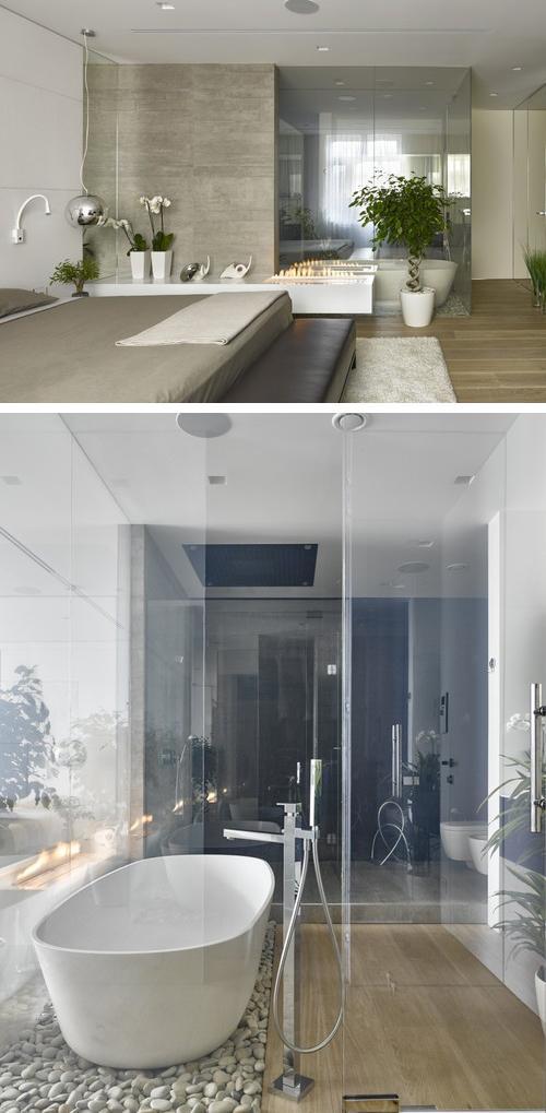 ванная комната со стеклянными стенами