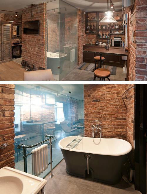 ванная со стеклянной стеной в студии
